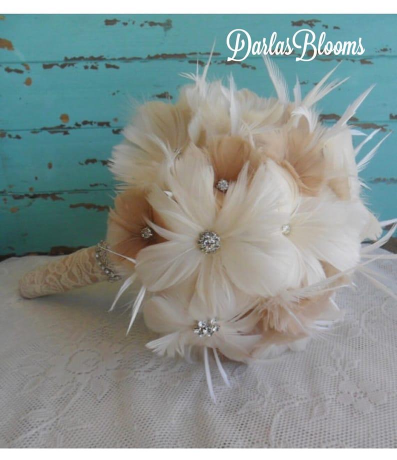 Alternative Bouquet Brooch Bouquet Great Gatsby Wedding,Feather Bouquet Wedding Bouquet YOUR CHOICE COLOR Bridal Bouquet