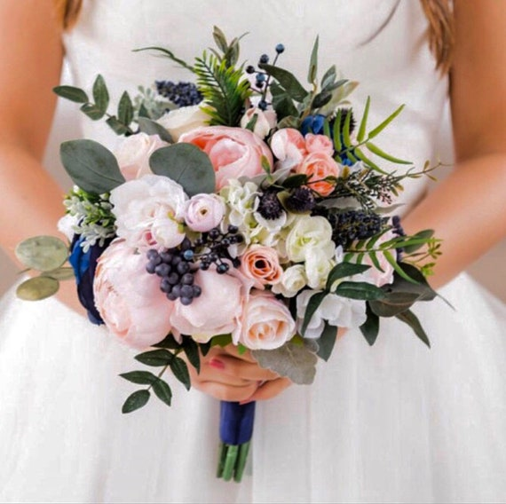 Wedding Bouquetbridal Bouquetblush Bouquet Navy Blush Etsy