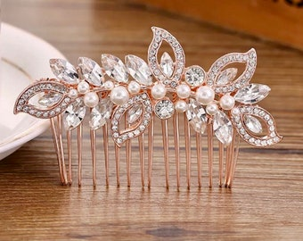Wedding hair comb, Rose gold rhinestone and pearl hair comb, Bridal hairpiece, Rhinestone hair comb, Rose gold hair comb, Wedding hairpiece