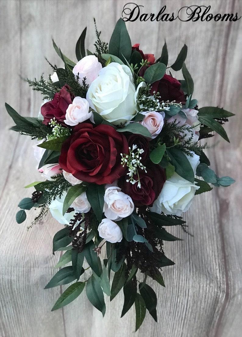 Immagini Di Bouquet Da Sposa.Cascata Di Bouquet Da Sposa Bouquet Da Sposa Borgogna Blush Mazzolino Mazzolino Di Boho Borgogna Blush Silk Wedding Bouquet Fiori Matrimonio
