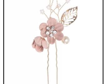 Dusty rose hairpin, Wedding hair accessory, Bridal hairpin, Dusty rose hair accessory, Bridesmaid hairpin, Bridesmaid hair accessory,