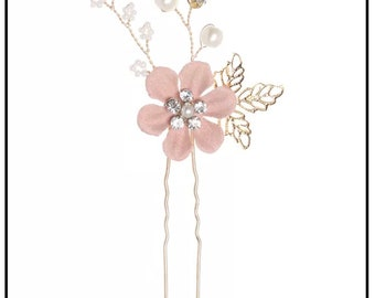 Dusty rose hairpin, Dusty rose hair accessory, Wedding hairpin, Bridesmaid hairpin, Floral hairpin, Wedding hair accessory, Bridal hairpin