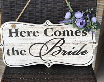 Here comes the Bride sign, Ring bearer sign, Flower girl sign, Wedding sign, Here comes the bride wedding sign, Floral wedding sign