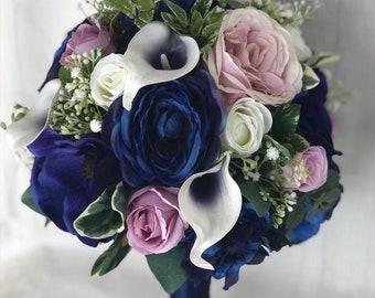 Navy Wedding Flowers, Navy Bridal bouquet, Navy & Lavender bouquet, Navy blue silk flowers, Navy bridesmaid bouquet, Wedding bouquet, Bridal