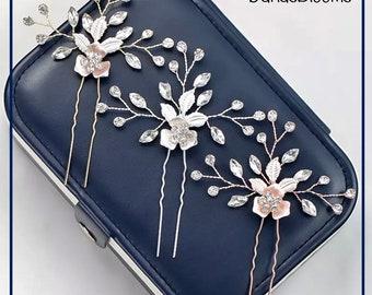 Rhinestone hairpin, Wedding hairpin, Rose gold hairpin, Bridal hair accessory, Silver rhinestone hairpin, Gold rhinestone hairpin,Bridesmaid