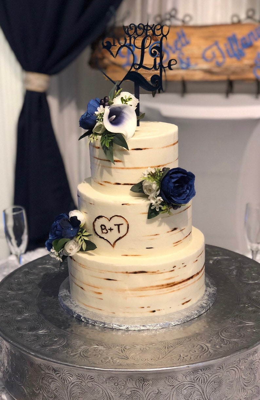Navy Blue Cake Flowers Navy Cake Topper Silk Cake Flowers Blue Cake Flowers Cake Topper Wedding Accessory Wedding Cake Flowers Topper