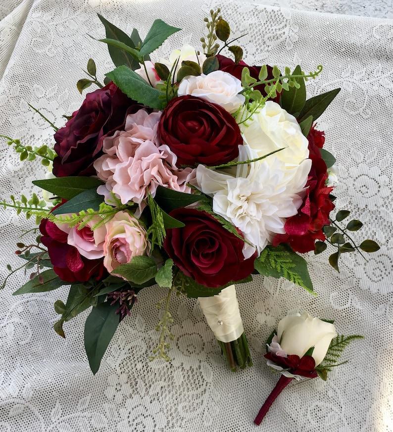 Wedding bouquetBurgundy Blush Bridal bouquetSilk Wedding image 0