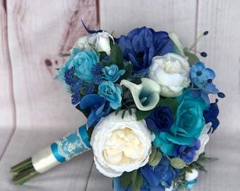 Turquoise bridal bouquet, Teal wedding bouquet, Tropical wedding bouquet, Teal Turquoise Royal blue wedding flowers, Beach wedding