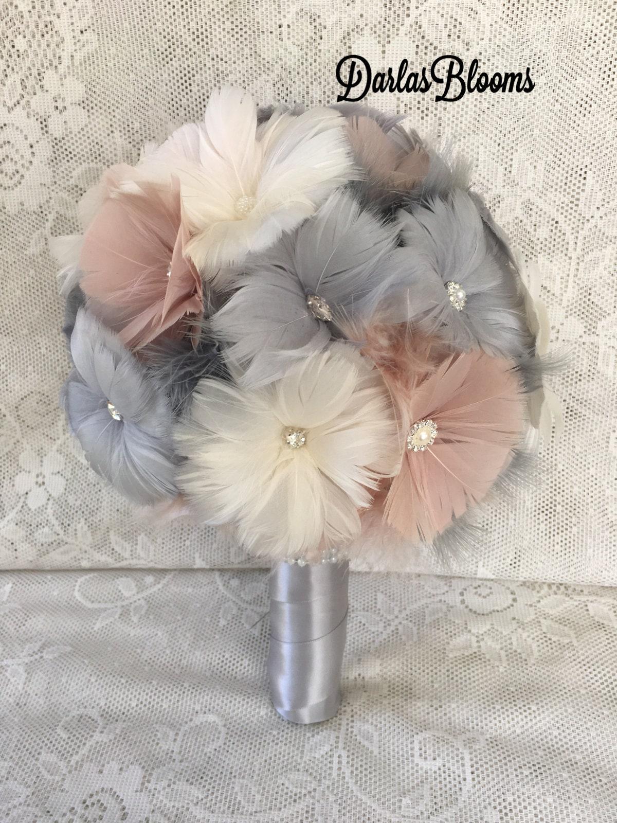 Handmade Bridal Flower Wedding Bouquet Crystal Bridesmaid Posy Yellow Grey #3