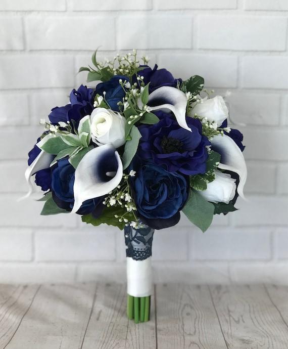 Navy Bridal Bouquetwedding Bouquetbridal Bouquetnavy Etsy