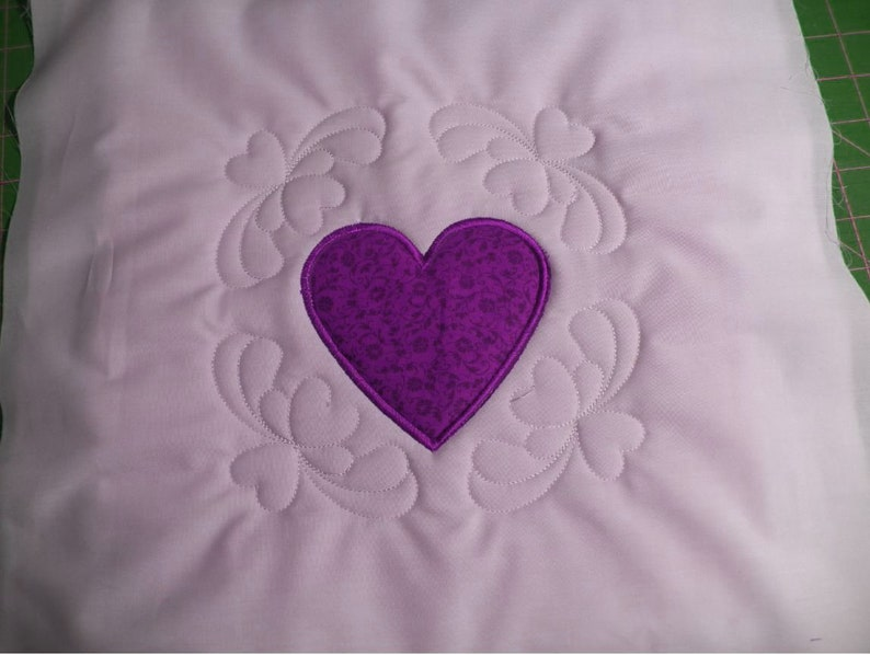 New heart trapunto applique embroidery quilt block quilt etsy