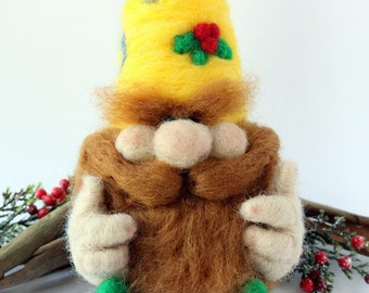 """Needle Felted Christmas Decoration - """"Dolph"""" the Woods Elf"""