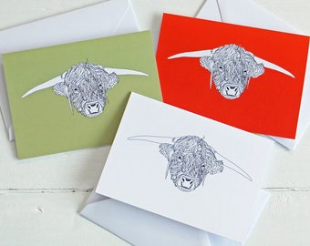 Heilan' Coo Card, Highland Cow Blank Card with envelope, Greeting Cards, Note Cards