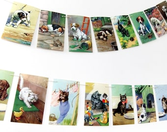 Puppies and Kittens Bunting, cats, dogs, up-cycled banner upcycled, Ladybird Book, nursery decor, recycled garland