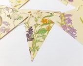 Wedding garland,  Lilac and yellow wedding decor, Bunting Flags, Boho Wedding Backdrop, Flower banner, afternoon tea  bunting, Pennants