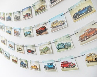 Mini Vintage Cars Bunting, Wall Hanging, Recycled Banner. Travel garland. Office Decor, Vintage Cars Pennants - Cars Banner