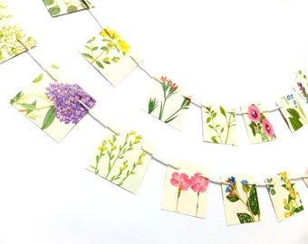 Mini Botanical Bunting, Square bunting, Small garland, flower bunting, wedding decoration, floral garland, paper bunting, workspace decor