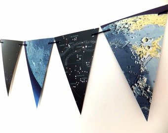 Moon and Stars Bunting -  Eco-friendly garland - recycled banner - pennants