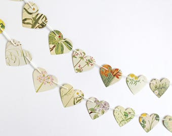Hearts Bunting, Victorian Flowers Garland, Floral Paper Garland, botanical earth friendly banner