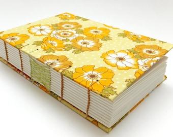 Wedding Guest Book, Retro Fabric, Hand Sewn Notebook, Spring Journal, Yellow Flowers, Keepsake Notebook, Sketchbook