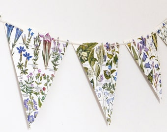 Lilac Floral Botanical Bunting, recycled banner, Flower Garland, eco-friendly paper bunting, ultra violet wedding decor