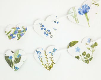 Blue flowers bunting, Azure Floral decor, Paper garland, Wedding Decor, Heart garland, Wedding Backdrop, Bunting flags, Heart Banner