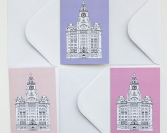 Blank cards, Liverpool Cards, Set of 3 Cards with envelopes, Pink and Lilac Cards, Greeting Cards, Thank You Cards, Notecards