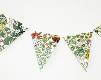 Autumn decor, Autumn Bunting, Fall Garland, Berries Bunting, Botanical Bunting, banner, upcycled, wedding decor, Pennants