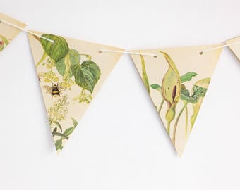Botanical wedding decor, Wedding Bunting Flags, Green Plants, Wedding Garland Backdrop, Flower banner, afternoon tea  bunting, Pennants