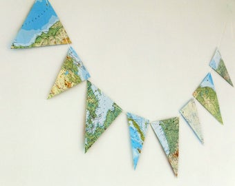 Map garland - up-cycled bunting, atlas decor, reclaimed map pennants, world atlas banner - 3 yards bunting