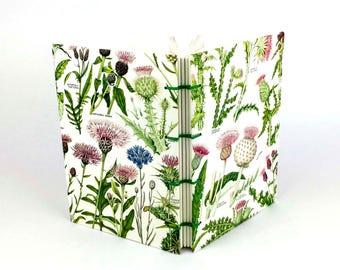 Notebook, Gratitude Journal, Botanical Journal Notebook, Thistle Notebook, Garden Notebook, Scottish gift, Artist gift, Scottish Sketchbook