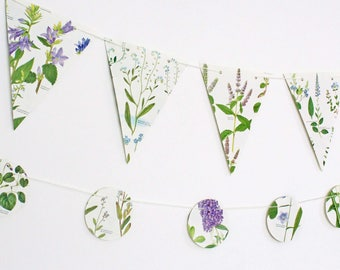 Purple Wild Flowers Bunting, Lilac and Blue Floral Garland, Natural Wedding, Rustic Wedding decor