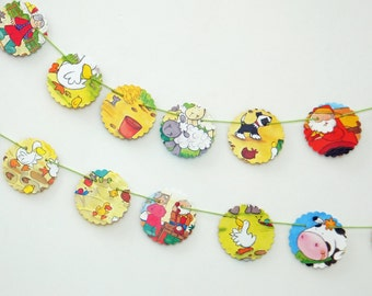 SALE  Old MacDonald Bunting, Paper Bunting, Children's bunting, Party Decor, recycled paper garland, Eco-Friendly Banner, Kid's Pennants