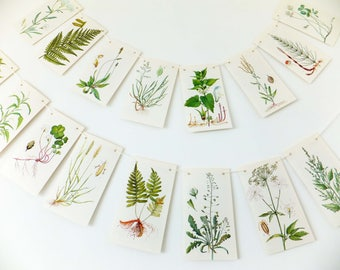 Nature Bunting. Sustainable Spring Decor. Green garland. Bunting flags. Botanical Wedding Banner. Afternoon Tea Party