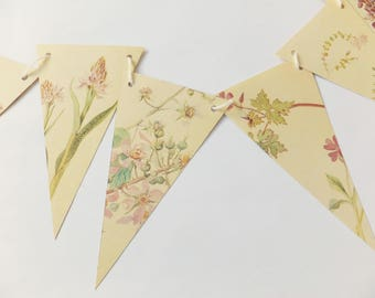 Paper Garland, Pastel Pink flowers, eco-friendly Spring and Summer banner, up-cycled bunting, wedding pennants, wedding decor