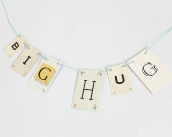 BIG HUG Bunting, Romantic Garland, recycled banner, banner, up-cycled bunting
