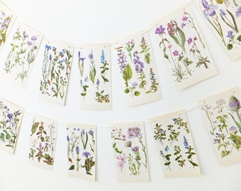 Wall Garland, Botanical Bunting, Lilac Flower Bunting. Spring Bunting, Purple Wedding Decorations. Wedding backdrop, Eco-friendly banner