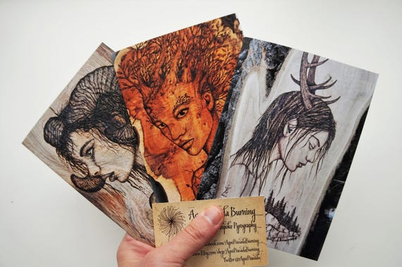 Set Of 3 Cards Art Greeting Card Original Prints
