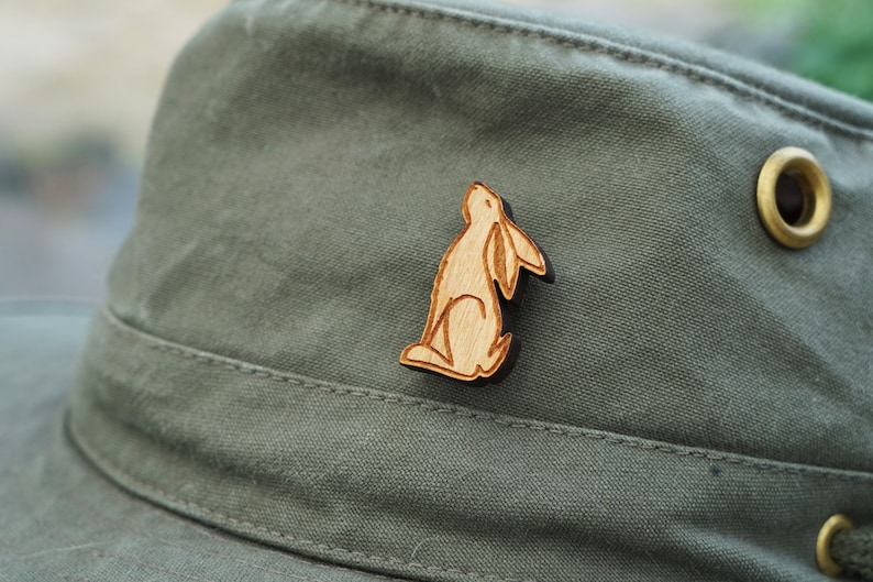 collectible brooch Moon Gazing Hare wooden pin badge