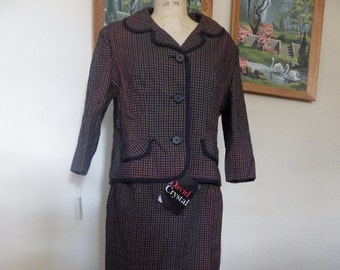 SALE Vintage brown gingham plaid 1960s XL ladies suit jacket and skirt Deadstock with tags Mad Men