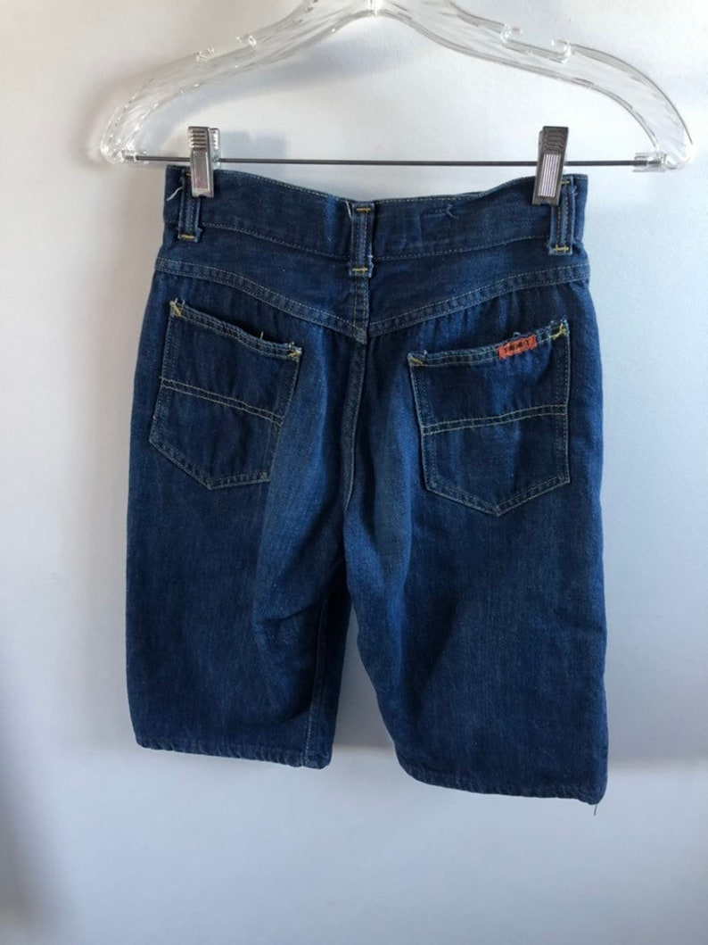 Vintage 1950s Selvedge Denim Womens Small Capri Shorts JC Penney Foremost Jeans Redline