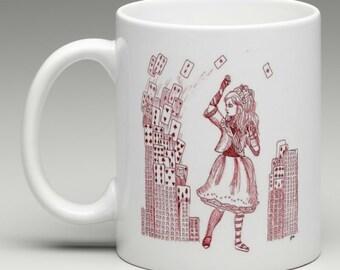 Alice in Wonderland Mug - Alice & Cards, Tim Burton Inspired, proceeds to Alzheimer's Association