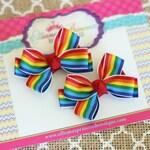 Baby Bows, Toddler Bows, Girls Hair Bows, Hair Clip, Birthday Hair Bows, Rainbow Bows, Rainbow Pigtail Set, Rainbow Piggy Set, 2 Inch Bows
