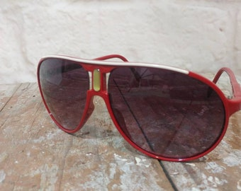19c8909daa Vintage Aviator Sunglasses 80 s Red Sunglasses Surf Ski Sun Eyeware