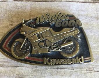 Kawasaki Mens Brown Hand-Tooled Leather Belt Metal Buckle Vintage Retro Biker Motorcycle