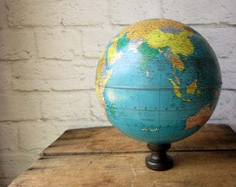 Vintage Metal Globe - Decor Display Prop - Crafts