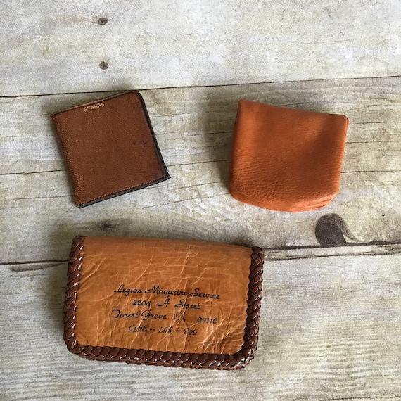 Beaded Wallet Vegan Vintage Coin Wallet Set Coin Purse Black Faux Leather