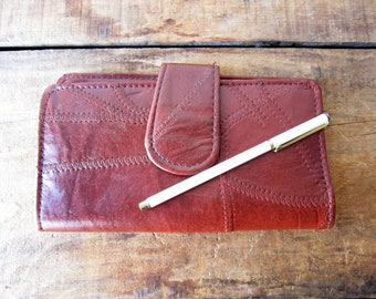 Vintage Patchwork Leather Wallet Large Wallet Small Clutch Woman's Wallet