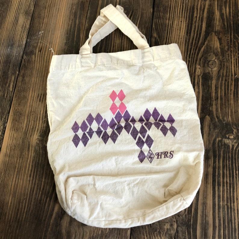 Canvas Market Bag Reusable Bag HRS Vintage Canvas Tote Pink and Purple