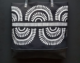 Tribal print canvas and leather tote bag